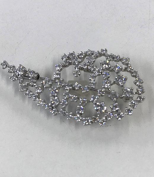 ダイヤモンド Pt900 フラワーモチーフブローチ