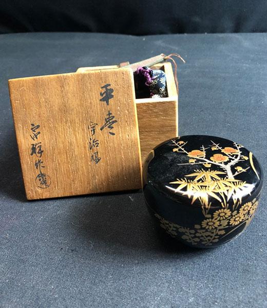 茶杓 煤竹 銘「千年翠」 福本積應筆 影林宗篤作